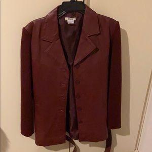 Leather and sweater sleeve jacket size large